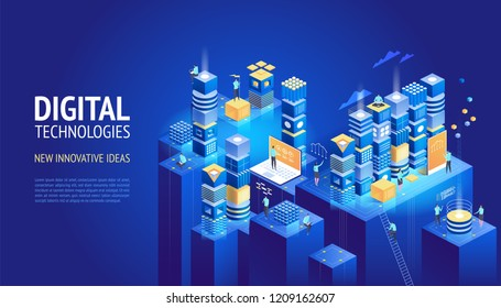 Website designs. New innovative ideas. Digital technologies. Vector illustration template for website and mobile website design and development. Creative concept, easy to edit and customize.