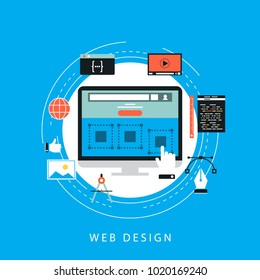Website development concept flat vector illustration. Wesite developing, programming and coding technologies for web banner and apps
