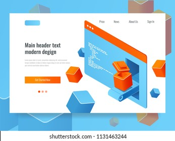 Website development concept, search engine optimization, add-on module plugin programming, web page isometric technology vector illustration
