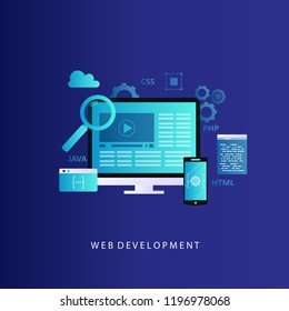 Website development concept vector illustration. Web design, programming and coding technologies for web banners and apps