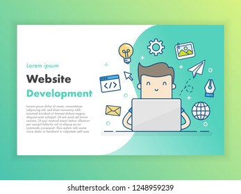 Website Development. Flat Design Banner, Web Page Design.