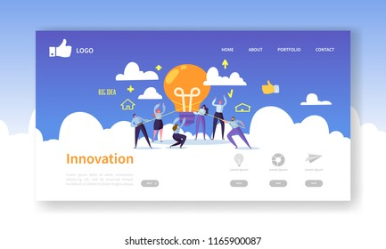 Website Development Landing Page Template. Mobile Application Layout with Flat Business People Holding Light Bulbs. Innovation Idea Concept. Easy to Edit and Customize. Vector illustration