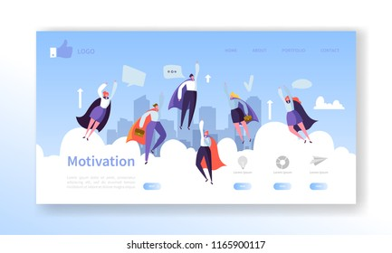 Website Development Landing Page Template. Mobile Application Layout with Flat Flying Business Heroes Man and Woman. Easy to Edit and Customize. Vector illustration