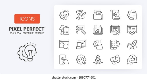 Website development process thin line icon set. Outline symbol collection. Editable vector stroke. 256x256 Pixel Perfect scalable to 128px, 64px...
