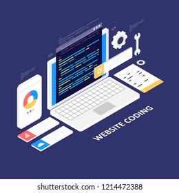 Website development, programming, coding, isometric vector illustration isolated on dark background