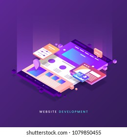 Website development vector illustration. Colorful Web page isometric icon. Modern landing page. Site building. Eps 10.