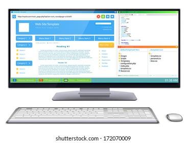 Website development: Work flow of website template development on wide screen computer monitor.