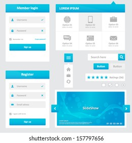 Website elements - design template for your web page - blue and white color - member login, register, dropdown menu, slideshow, search box, buttons, ratings