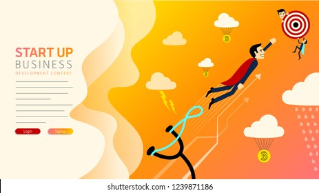 Website first page design. Vector businessman growth. Man on catapult prepare shooting to success goal concept. New business banner or cover. Graphic template easy Editable For Your Design.