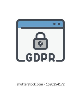 Website with GDPR secure color line icon. Browser page with padlock vector outline colorful sign.
