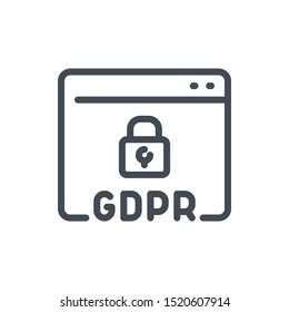 Website with GDPR secure line icon. Browser page with padlock vector outline sign.