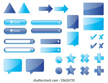 Website glossy icons. Set of blue buttons, input text fields, balloons
