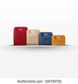Website, graphic design, diagram, four message card in cut paper - color card template