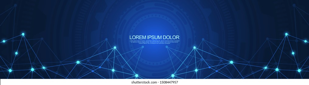 Website header or banner design with abstract geometric background and connecting dots and lines. Global network connection. Digital technology with plexus background and space for your text