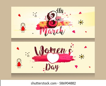 Website Header or Banner design based on Line Art pattern and stylish text on the occasion of International Women's Day, 8th March.