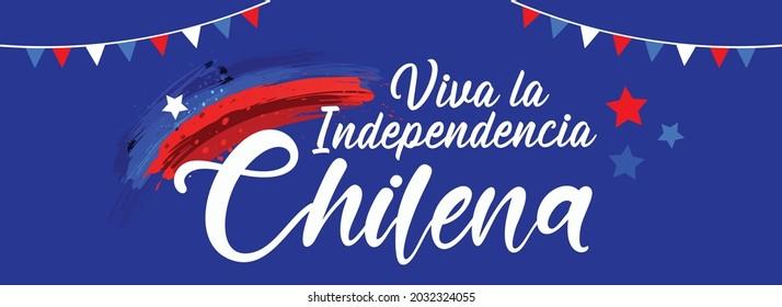 Website Header or Banner Design for Chile Independence Day. Happy National Holiday Fiestas Patrias. September 18 Background Design.