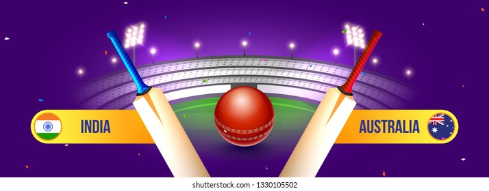 Website header or banner design, cricket match between India vs Australia with illustration of bats and ball on night stadium background.