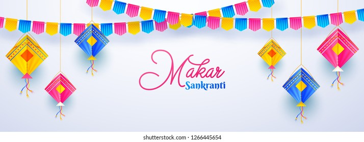 Website header or banner design decorated with colorful kites and bunting flags on white background for Happy Makar Sankranti festival.