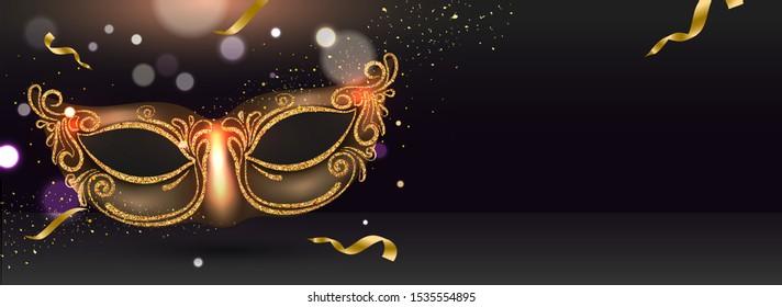 Website header or banner design with glittering party mask illustration on black bokeh effect background.