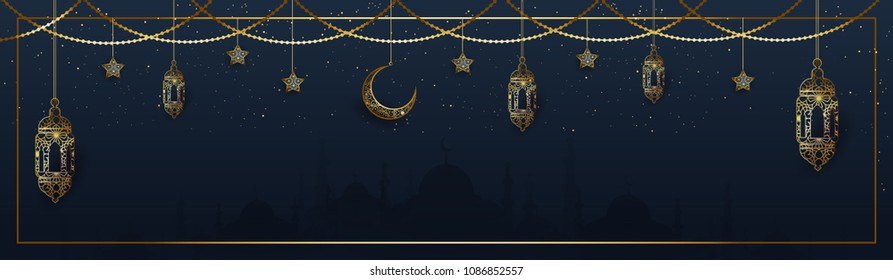 Website header or banner design with hanging intricate lanterns, star and moon on blue background.