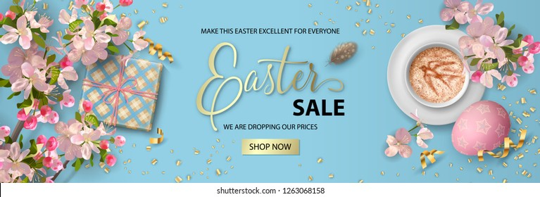 Website header or banner design. Happy Easter sale banner. Holiday background with painted eggs, gift, cherry blossom branches and cup of coffee. Vector top view illustration