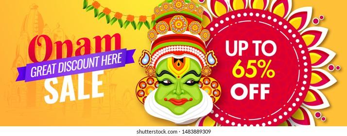Website header or banner design with illustration of Kathakali dancer face and 65% discount offer for Onam Festival Sale.