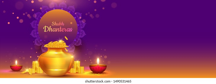 Website header or banner design with illustration of golden coins pot and illuminated oil lamps (Diya) for Shubh (Happy) Dhanteras celebration concept.