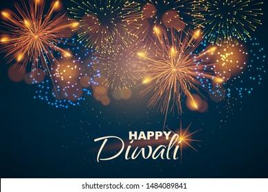 Website header or banner design on the background of lights and fireworks for Diwali Festival celebration. - Vector