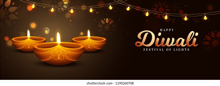 Website Header or Banner Design, Realistic Illuminated Oil Lamps on Brown Background Decorated with Bunting Light for Happy Diwali Celebration.