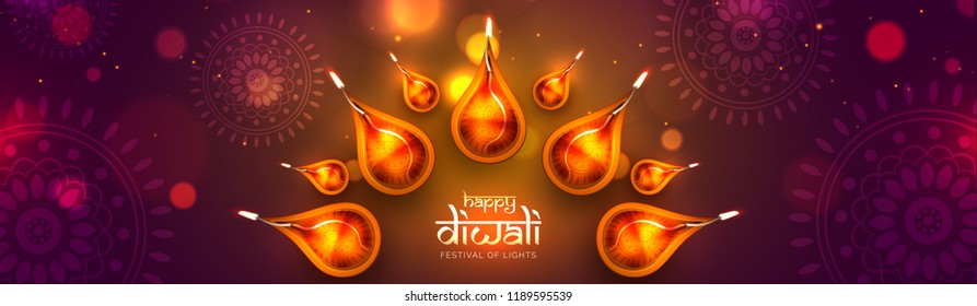 Website header or banner design, top view of illuminated realistic oil lamps on purple floral background for Diwali festival celebration concept.