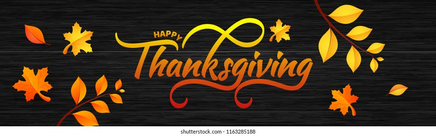 Website header or banner design with typography of Thanksgiving and maple or autumn leaves on wooden texture background.