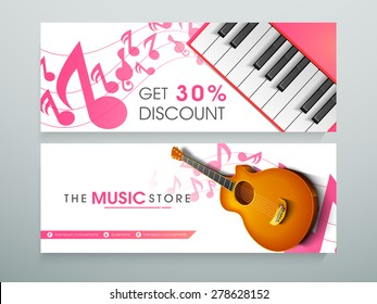 Website header or banner for music store with 30% discount offer.