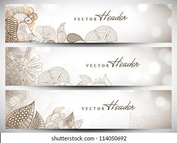 Website header or banner set with beautiful floral design. EPS 10.