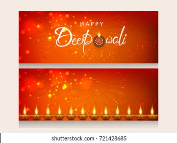 Website header or banner set with creative Happy Deepawali text and decorated background of firework and traditional illuminated floral Oil Lamps (Diya)  for  Happy Diwali (Shubh Diwali) celebration.