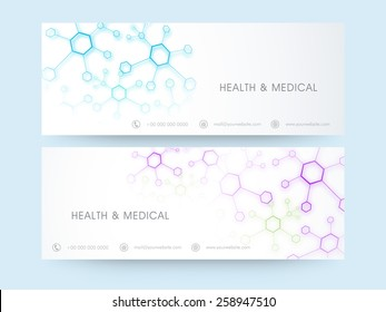 Website header or banner set for Health and Medical concept with place holder for contact details.