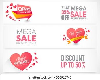 Website header or banner set of Mega Sale with Discount Offer for Happy Valentine's Day celebration.