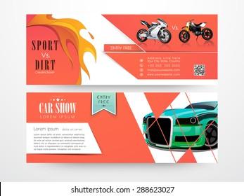 Website header or banner set for sport vs dirt chapionship and car show.