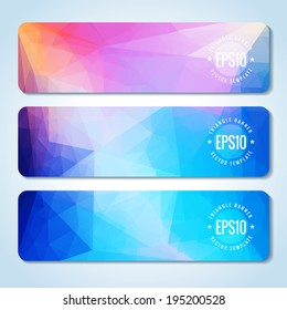 Website header or banner set of triangle rainbow texture