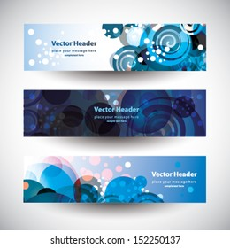 Website header colorful abstract spirals banner set vector design