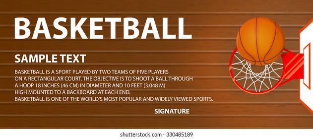 Website header vector illustration, banner, a basketball court, a ball in a basket, space for text,  lorem ipsum