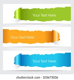 Website headers and banners with hole through paper pattern  in orange, green and blue color .EPS 10.Vector illustration.