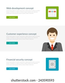 Website Headers or Promotion Banners Templates and Flat Icons Design. Web Development Site, Customer Experience Manager Character, Financial Security Safe. Vector Illustration.