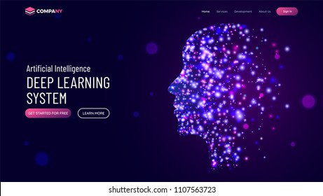 Website hero banner with illustration of human face made by glowing molecule particle for deep learning concept.