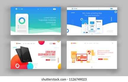 Website Hero Image or Landing Pages Set.