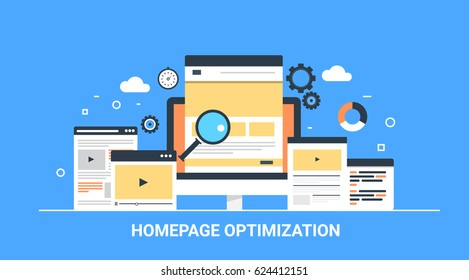 Website homepage optimization, homepage setup, SEO optimized pages flat vector concept with icons
