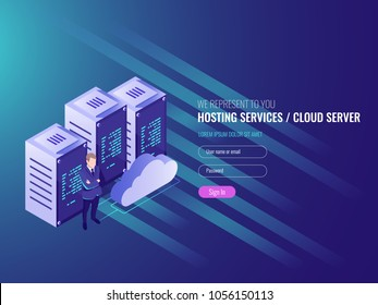Website hosting isometric, cryptocurrency and blockchain concept. Server farm for mining bitcoins IT 3d vector