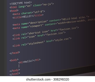 Website HTML code on a monitor screen.