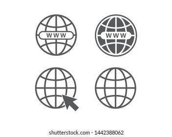 Website icon. Globe symbol. Vector illustration. on white background