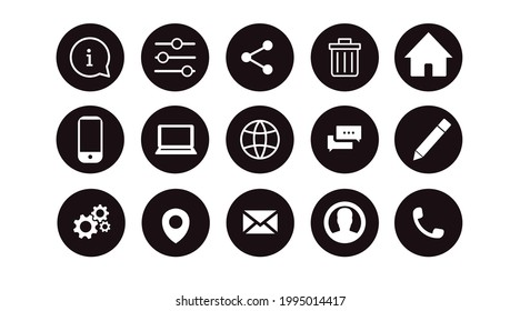 Website Icon Set. Black and White Illustration of Differente Contact and Website icons