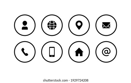 Website icon set. Contact us icon symbol pack. Communication icon collections